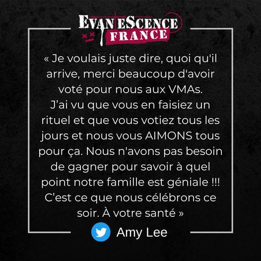 Avant les résultats des Video Music Awards, Amy Lee avait posté ce message sur T…